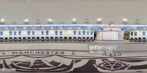 A general view inside the Manchester City dressing room prior to the UEFA Champions League group F match between Manchester City and Feyenoord at...