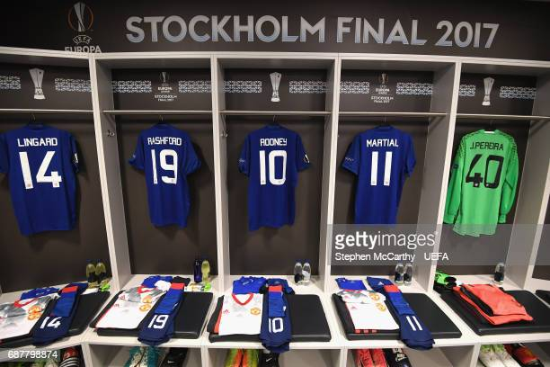 General view inside the Manchester United changing room prior to the UEFA Europa League Final between Ajax and Manchester United at Friends Arena on...