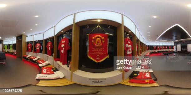 General view inside the Manchester United dressing room ahead of the UEFA Europa League round of 32 second leg match between Manchester United and...