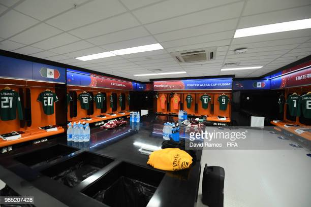 General view inside the Mexico dressing room during the 2018 FIFA World Cup Russia group F match between Mexico and Sweden at Ekaterinburg Arena on...