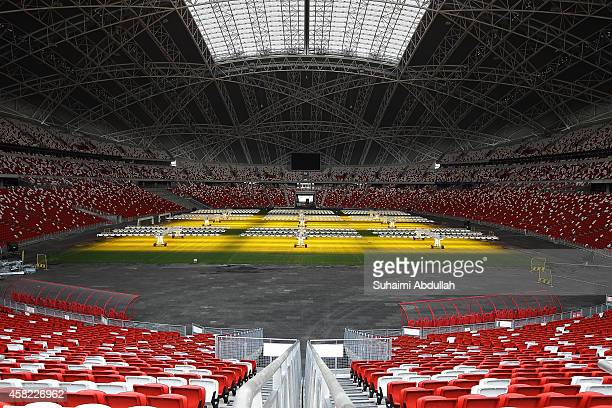 A general view inside the National Stadium at Singapore Sports Hub on November 01 2014 in Singapore Special lights which act as sunlight costing at...
