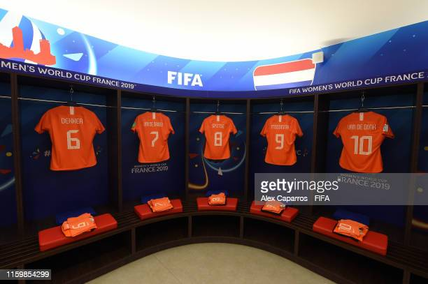 General view inside the Netherlands dressing room prior to the 2019 FIFA Women's World Cup France Semi Final match between Netherlands and Sweden at...
