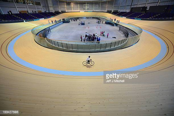 A general view inside the new Chris Hoy Velodrome on October 5 2012 in Glasgow Scotland School children from around Glasgow were among the first to...