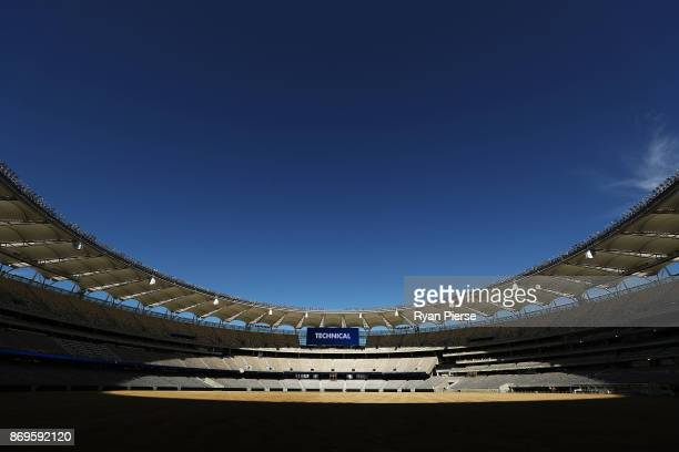 General view inside The New Perth Stadium on November 3, 2017 in Perth, Australia. The 60,000 seat multi-purpose Stadium features the biggest LED...
