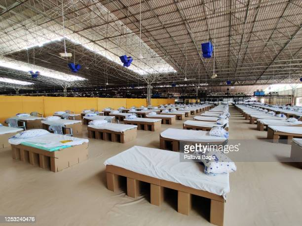 General view inside the new Sardar Patel Covid Care Centre and Hospital on June 28,2020 in New Delhi, India. The new hospital will be one of the...