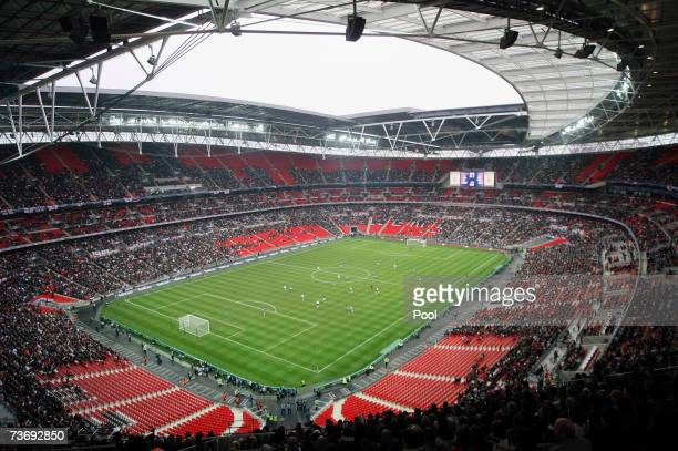 General view inside the new Wembley Stadium during the England U21 v Italy U21 friendly match on March 24, 2007 in London, England