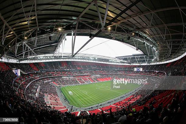 A general view inside the new Wembley Stadium during the England U21 v Italy U21 friendly match on March 24 2007 in London England