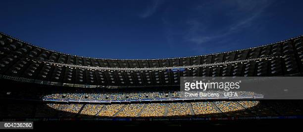 General view inside the NSK Olimpiyskyi stadium prior to the UEFA Champions League Group B match between FC Dynamo Kyiv and SSC Napoli at the NSK...