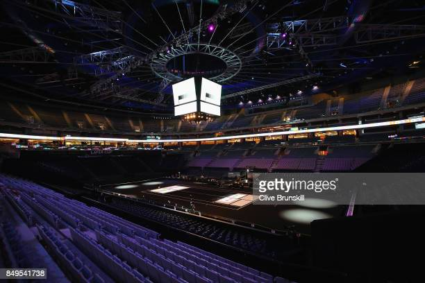 A general view inside the O2 Arena as the lights are tested ahead of the Laver Cup on September 19 2017 in Prague Czech Republic The Laver Cup...