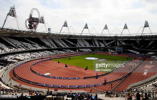 A general view inside the Olympic Stadium during The National Lottery Anniversary Run at The Queen Elizabeth Olympic Park on July 21 2013 in...