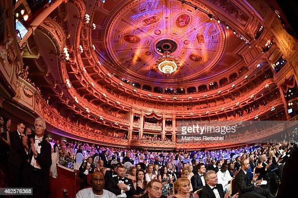 A general view inside the opera during the Semper Opera Ball 2015 at Semperoper on January 30 2015 in Dresden Germany