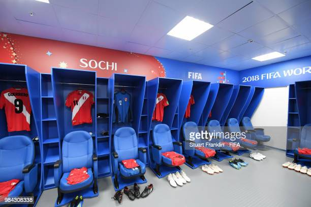 General view inside the Peru dressing room prior to the 2018 FIFA World Cup Russia group C match between Australia and Peru at Fisht Stadium on June...