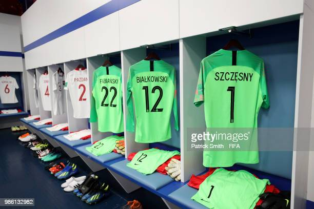 General view inside the Poland dressing room prior to the 2018 FIFA World Cup Russia group H match between Japan and Poland at Volgograd Arena on...