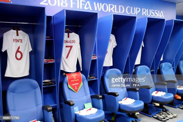 General view inside the Portugal dressing room prior to the 2018 FIFA World Cup Russia Round of 16 match between Uruguay and Portugal at Fisht...
