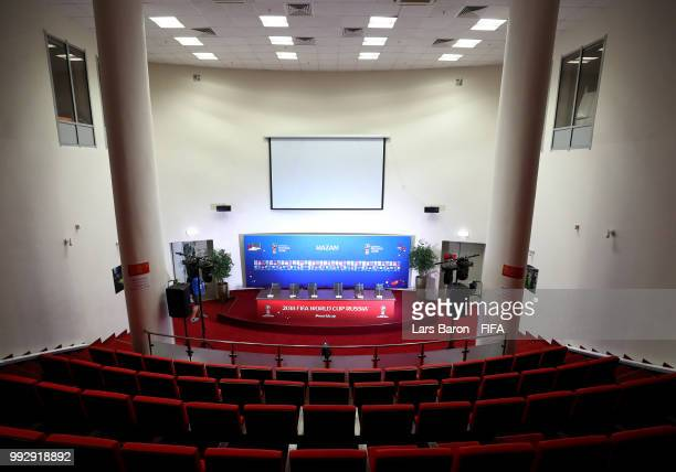 General view inside the press conference room prior to the 2018 FIFA World Cup Russia Quarter Final match between Brazil and Belgium at Kazan Arena...