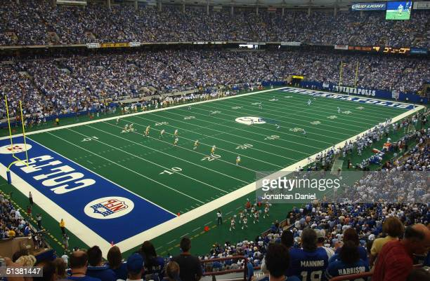 General view inside the RCA Dome during the game between the Green Bay Packers and the Indianapolis Colts on September 26, 2004 in Indianapolis,...