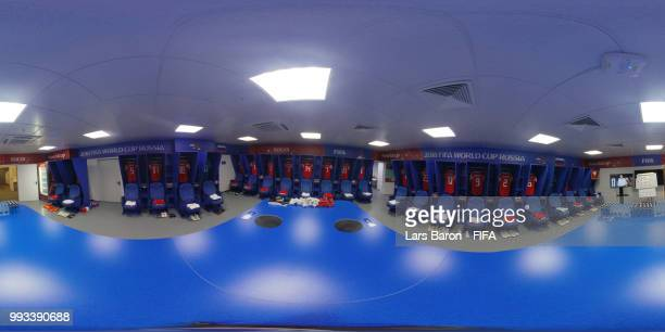 General view inside the Russia dressing room during the 2018 FIFA World Cup Russia Quarter Final match between Russia and Croatia at Fisht Stadium on...