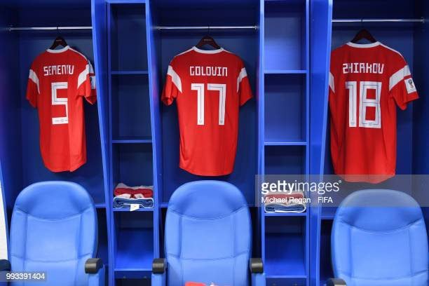 General View inside the Russia dressing room prior to the 2018 FIFA World Cup Russia Quarter Final match between Russia and Croatia at Fisht Stadium...