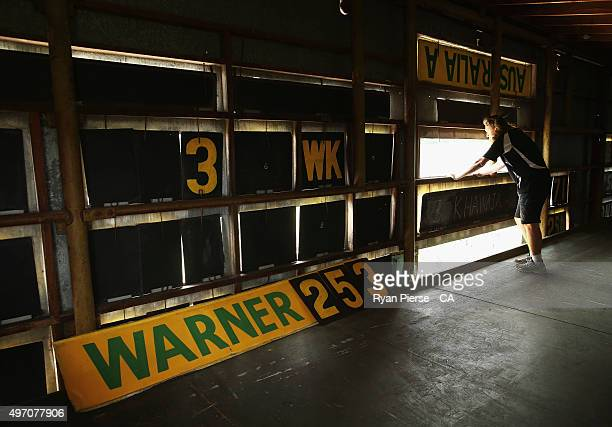 A general view inside the scoreboard after David Warner of Australia was dismissed for 253 runs during day two of the second Test match between...