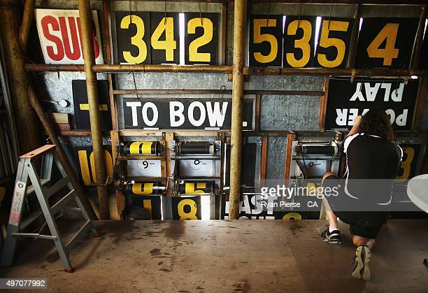 A general view inside the scoreboard during day two of the second Test match between Australia and New Zealand at WACA on November 14 2015 in Perth...