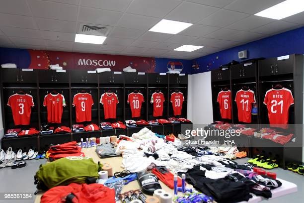 General view inside the Serbia dressing room prior to the 2018 FIFA World Cup Russia group E match between Serbia and Brazil at Spartak Stadium on...
