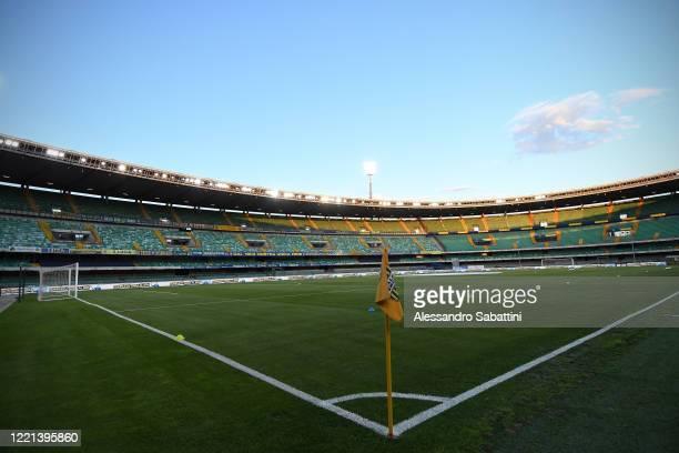 General view inside the Stadio Marcantonio Bentegodi before the Serie A match between Hellas Verona and Cagliari Calcio at Stadio Marcantonio...
