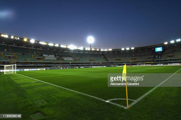 General view inside the Stadio Marc'Antonio Bentegodi during the Serie A match between Chievo Verona and Cagliari at Stadio Marc'Antonio Bentegodi on...