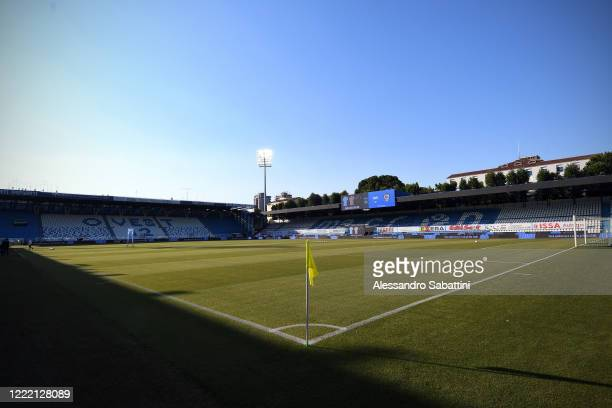 General view inside the Stadio Paolo Mazza before the Serie A match between SPAL and Cagliari Calcio at Stadio Paolo Mazza on June 23, 2020 in...