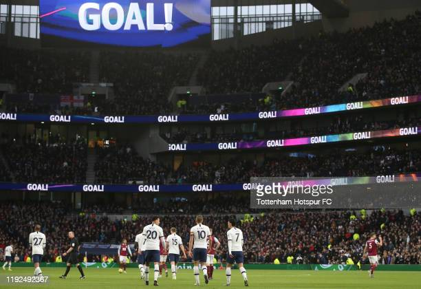 General view inside the stadium after Harry Kane of Tottenham Hotspur scored his team's first goal showing support for the Rainbow Laces Campaign on...