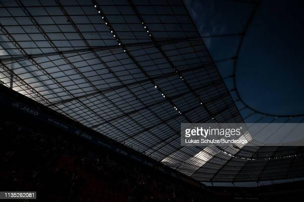 LEVERKUSEN GERMANY APRIL Image has been digitally enhanced General view inside the stadium after the Bundesliga match between Bayer 04 Leverkusen and...