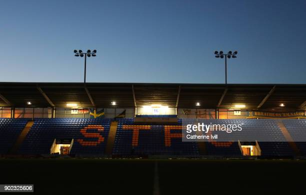 General view inside the stadium after the Emirates FA Cup Third Round match between Shrewsbury Town and West Ham United at New Meadow on January 7...