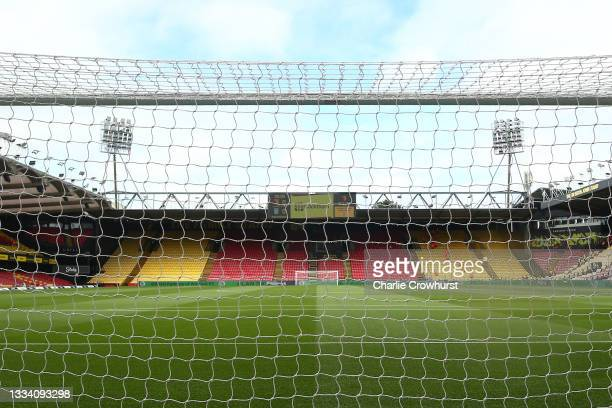 General view inside the stadium ahead of during the Premier League match between Watford and Aston Villa at Vicarage Road on August 14, 2021 in...
