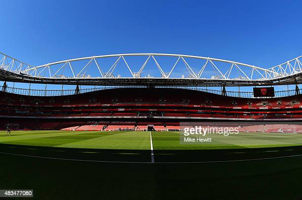 A general view inside the stadium ahead of the Barclays Premier League match between Arsenal and West Ham United at the Emirates Stadium on August 9...