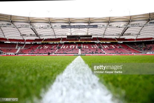 A general view inside the stadium ahead of the Bundesliga match between VfB Stuttgart and Hannover 96 at MercedesBenz Arena on March 03 2019 in...