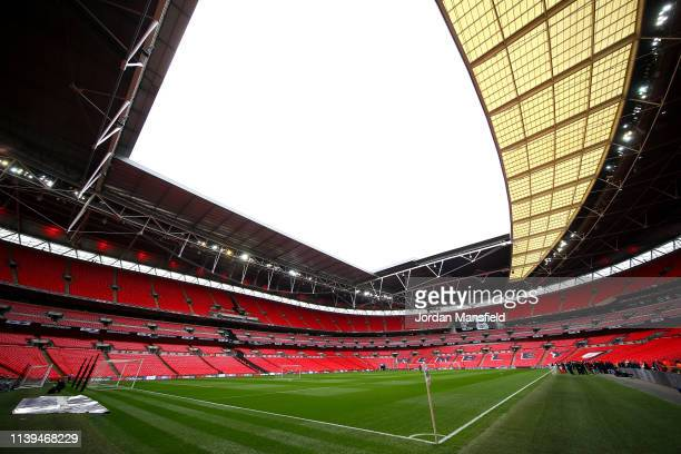 A general view inside the stadium ahead of the Checkatrade Trophy Final between Portsmouth and Sunderland at Wembley Stadium on March 31 2019 in...