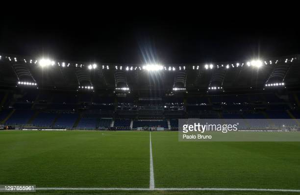 General view inside the stadium ahead of the Coppa Italia match between SS Lazio and Parma Calcio at Olimpico Stadium on January 21, 2021 in Rome,...