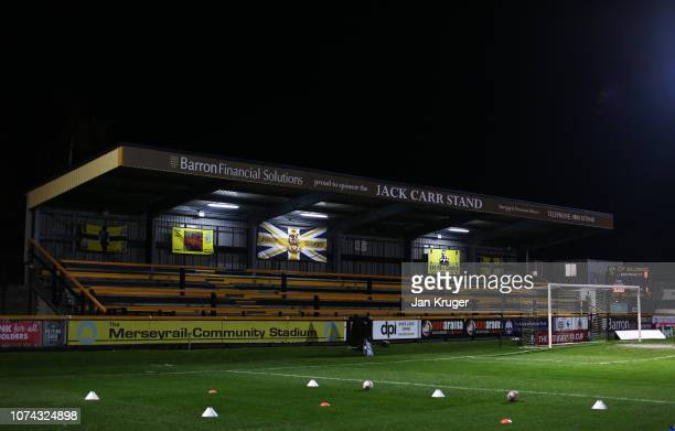 General view inside the stadium ahead of the FA Cup Second Round Replay match between Southport and Tranmere Rovers at Haig Avenue on December 17...