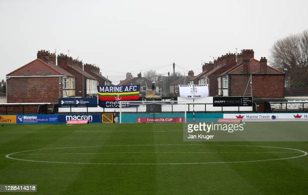 General view inside the stadium ahead of the FA Cup Second Round match between Marine FC and Havant and Waterloovile at The Marine Travel Arena on...