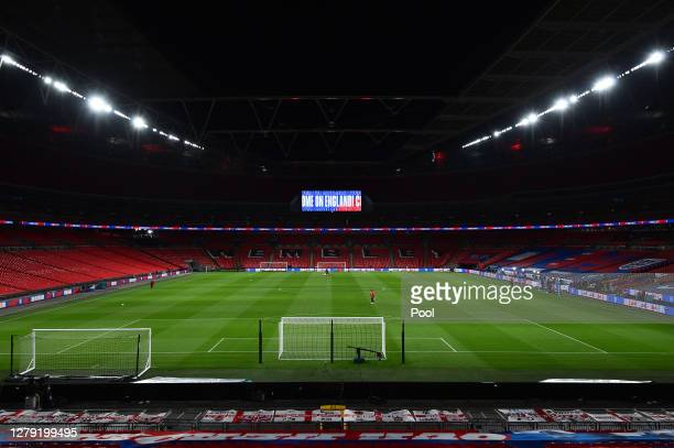 General view inside the stadium ahead of the international friendly match between England and Wales at Wembley Stadium on October 08, 2020 in London,...