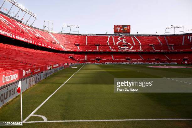 General view inside the stadium ahead of the Liga match between Sevilla FC and Valencia CF at Estadio Ramon Sanchez Pizjuan on July 19, 2020 in...