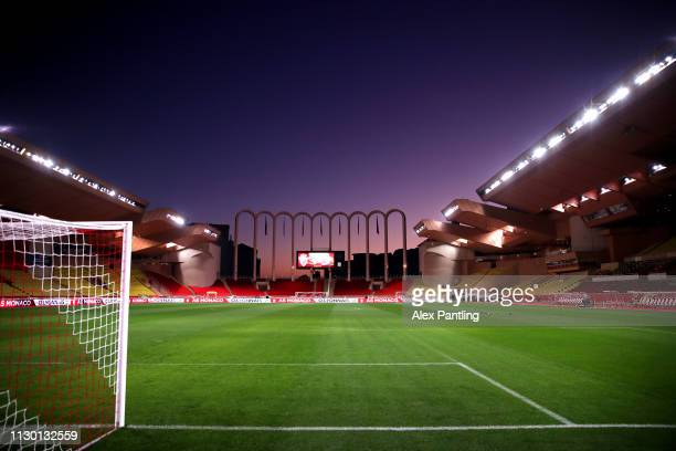 General view inside the stadium ahead of the Ligue 1 match between AS Monaco and FC Nantes at Stade Louis II on February 16, 2019 in Monaco, Monaco.