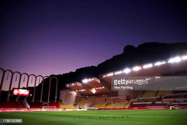 A general view inside the stadium ahead of the Ligue 1 match between AS Monaco and FC Nantes at Stade Louis II on February 16 2019 in Monaco Monaco