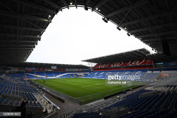 General view inside the stadium ahead of the Premier League match between Cardiff City and Arsenal FC at Cardiff City Stadium on September 2 2018 in...