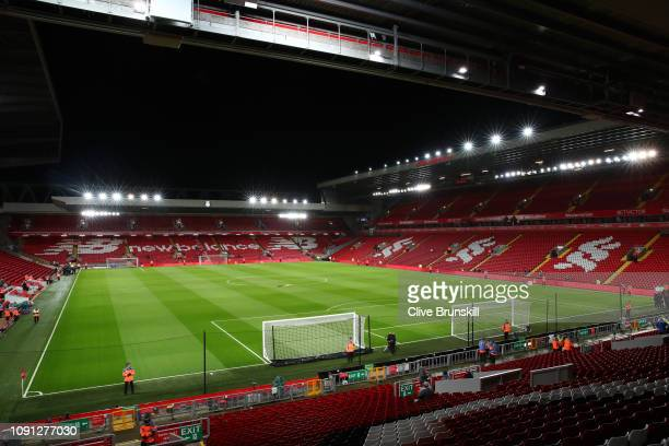 General view inside the stadium ahead of the Premier League match between Liverpool FC and Leicester City at Anfield on January 30 2019 in Liverpool...