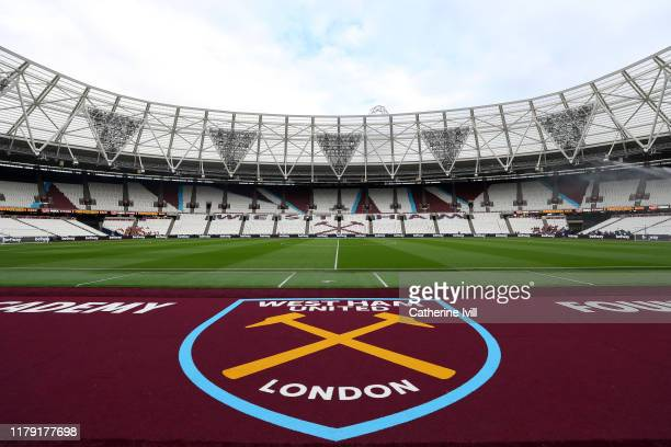 General view inside the stadium ahead of the Premier League match between West Ham United and Crystal Palace at London Stadium on October 05 2019 in...