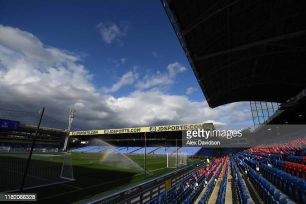 General view inside the stadium ahead of the Premier League match between Crystal Palace and Manchester City at Selhurst Park on October 19 2019 in...
