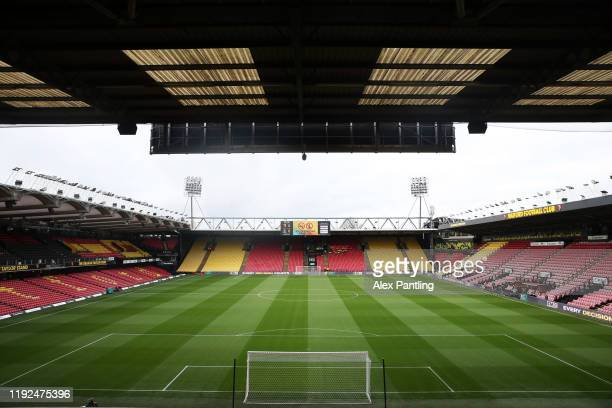 General view inside the stadium ahead of the Premier League match between Watford FC and Crystal Palace at Vicarage Road on December 07, 2019 in...