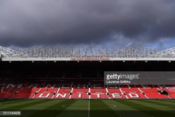 General view inside the stadium ahead of the Premier League match between Manchester United and Manchester City at Old Trafford on March 08 2020 in...