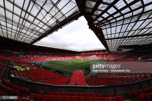 General view inside the stadium ahead of the Premier League match between Manchester United and Manchester City at Old Trafford on March 08, 2020 in...