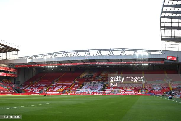 General view inside the stadium ahead of the Premier League match between Liverpool FC and Crystal Palace at Anfield on June 24, 2020 in Liverpool,...